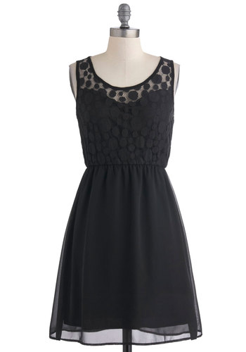 Down and Dotty Dress - Mid-length, Black, Solid, Polka Dots, Lace, Party, A-line, Sleeveless, Tis the Season Sale, Sheer, Top Rated