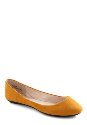 Maize and Nights Flat - Yellow, Solid, Casual, Faux Leather, Flat