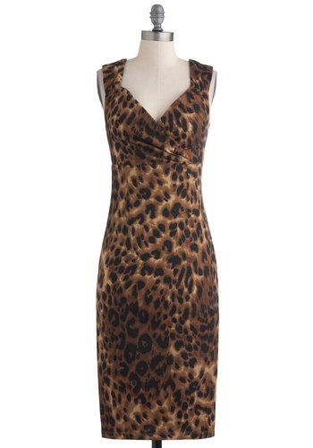 Lept Til Dawn Dress - Brown, Black, Animal Print, Party, Sheath / Shift, Sleeveless, Cocktail, Girls Night Out, Long, Urban, Bodycon / Bandage, Sweetheart, Pinup, Vintage Inspired, 40s