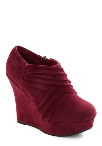 Hello Bordeaux Wedge - Red, Solid, Pleats, Casual, Luxe, Faux Leather, Platform, High, Wedge