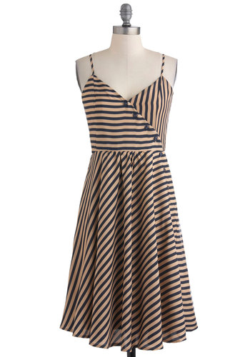 Brunch by the Bay Dress - Long, Orange, Blue, Stripes, Casual, A-line, Spaghetti Straps, Summer, Nautical, Exclusives