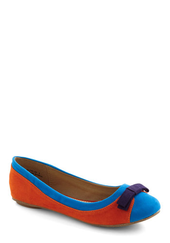 Bold Your Attention Flat - Orange, Blue, Purple, Bows, Casual, 80s, Colorblocking, Faux Leather, Flat