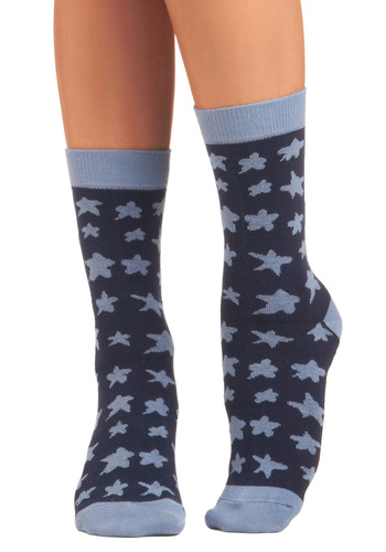 Star Off Right Socks by PACT - Blue, Novelty Print, Casual, Eco-Friendly