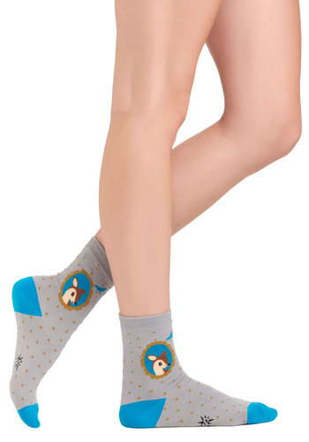 Number One Fawn Socks - Grey, Blue, Print with Animals, Casual, Kawaii
