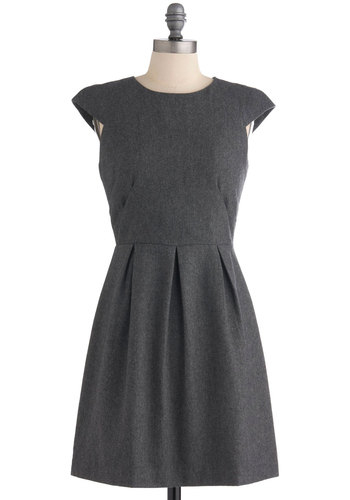 Grey-t Success Dress - Mid-length, Grey, Solid, Pleats, Work, A-line, Cap Sleeves, Vintage Inspired