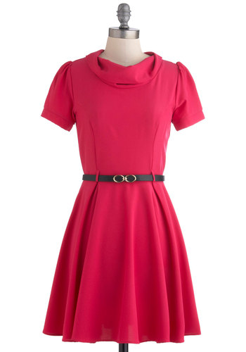 Cowl Me Dress in Magenta - Mid-length, Pink, Solid, Work, A-line, Short Sleeves, Belted, Pleats, Cowl, Fit & Flare, Variation
