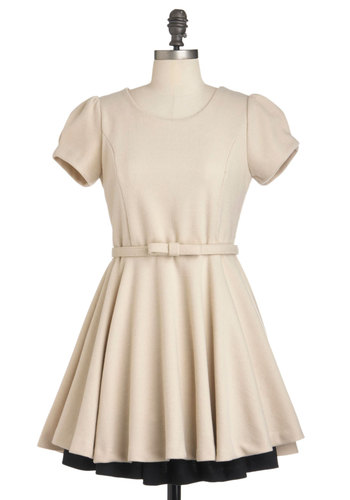 Beige Like These Dress - Short, Cream, Black, Solid, Belted, Party, Vintage Inspired, Fit & Flare, Short Sleeves
