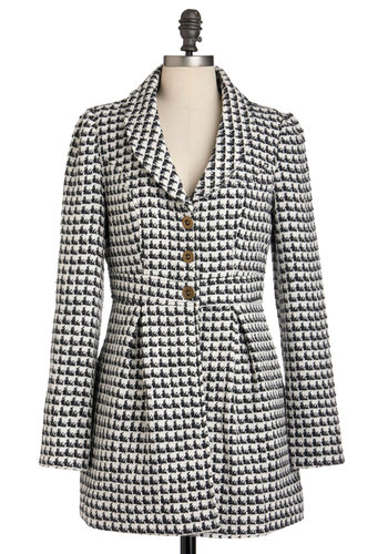 Suite As Can Be Coat by Tulle Clothing - Black, White, Houndstooth, Buttons, Pockets, Casual, Long Sleeve, Fall, Scholastic/Collegiate, 2, Long