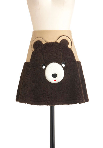 Sam's Grin & Bear It Skirt - Brown, Tan / Cream, White, Short, Casual, Statement, Fall, Quirky