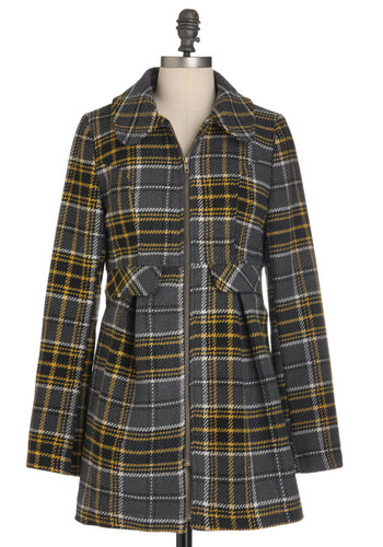 Building Bridges Coat by Tulle Clothing - Long, Grey, Yellow, Plaid, Pockets, Casual, Long Sleeve, Fall, 2, Tis the Season Sale