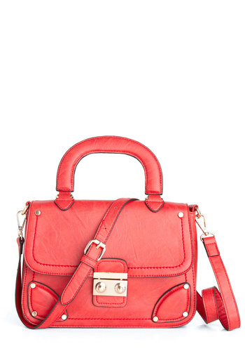 Vermillion Reasons Bag by Melie Bianco - Red, Solid, Studs, Casual, Scholastic/Collegiate, Faux Leather
