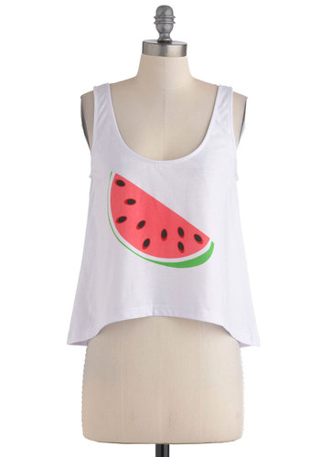 A Snack for Style Top - White, Green, Pink, Black, Casual, Tank top (2 thick straps), Fruits, 80s, Short, International Designer