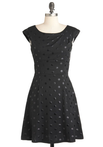 Director's Cutout Dress in Black Dots - Black, Polka Dots, Sleeveless, Mid-length, Backless, Party, A-line, Film Noir, Cocktail, Boat, Fit & Flare
