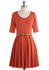 For Many Sunsets Dress - Orange, Solid, Casual, A-line, 3/4 Sleeve, Fall, Belted, Mid-length, Bows, Work, Fit & Flare, Variation, Scoop
