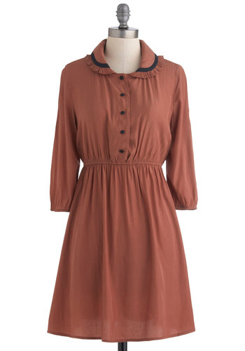Library Lover Dress by Tulle Clothing - Mid-length, Brown, Black, Solid, Buttons, Peter Pan Collar, Casual, Shirt Dress, Long Sleeve, Fall, Work, Vintage Inspired, Scholastic/Collegiate, Collared