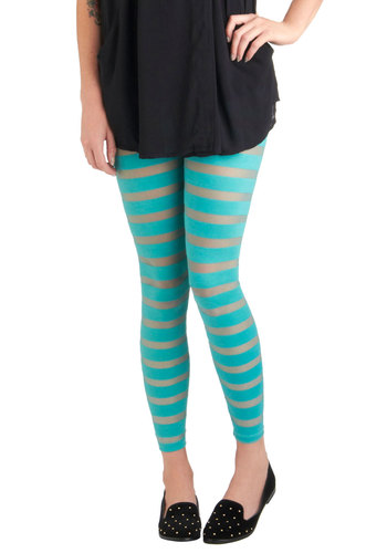 Cast Shadows Leggings - Blue, Casual, Stripes