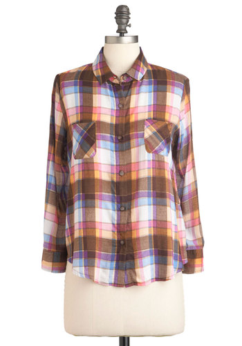 Plaid You Wish Top - Brown, Yellow, Blue, Pink, Plaid, Buttons, Pockets, Casual, Vintage Inspired, 90s, Long Sleeve, Mid-length, Rustic, Jersey, Holiday Sale, Button Down, Collared