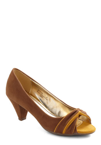 Cocoa and Honey Heel - Brown, Yellow, Work, Faux Leather, Peep Toe, Mid
