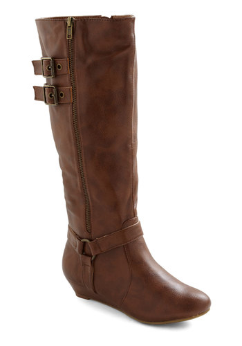 Strappy Young Lass Boot - Brown, Solid, Buckles, Casual, Military, Rustic, Fall, Faux Leather, Low