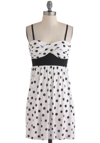 Dot You Forget It Dress - Black, Polka Dots, Casual, Empire, Spaghetti Straps, Summer, Short, White