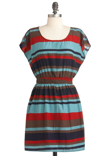 Catch My Drift-Wood? Dress - Multi, Orange, Blue, Brown, Black, Stripes, Casual, A-line, Short Sleeves, Summer, Short, Travel