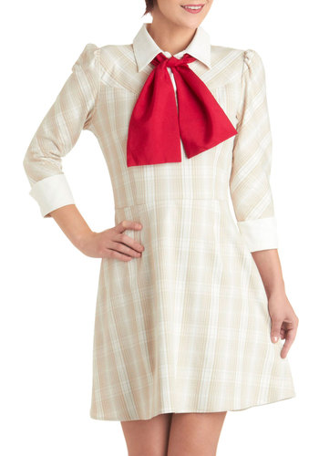 Teacher Comforts Dress - Tan, Red, White, Plaid, Work, Vintage Inspired, 60s, 3/4 Sleeve, Fall, Tie Neck, Fit & Flare, Mid-length, Buttons