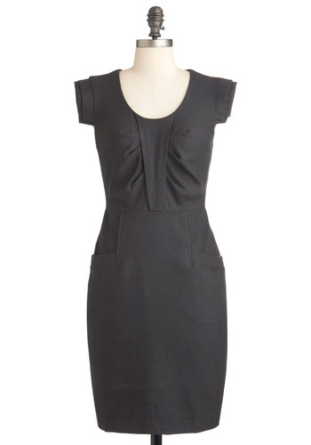 Work of Architecture Dress - Grey, Solid, Work, Sheath / Shift, Sleeveless, Mid-length, Vintage Inspired
