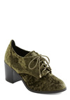 Docent Miss a Beat Heel - Green, Black, Solid, Casual, Menswear Inspired, 90s, Lace Up, Mid, Tis the Season Sale