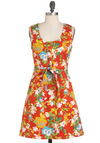 Think Outside the Window-Box Dress by Tulle Clothing - Mid-length, Orange, Yellow, Multi, Buttons, Casual, A-line, Sleeveless, Summer, Belted, 60s, Tis the Season Sale