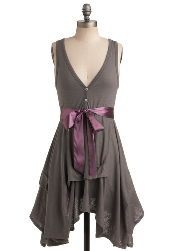 Craft Party Dress in Stone Grey - Mid-length, Grey, Solid, Buttons, Belted, Party, A-line, Sleeveless, Summer, Casual, Steampunk, Jersey, V Neck