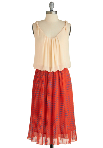 Dot Mind Me Dress - Long, Orange, Blue, Tan / Cream, Polka Dots, Pleats, Party, Sleeveless, Shift, Pastel, Sheer, Coral, 20s, V Neck