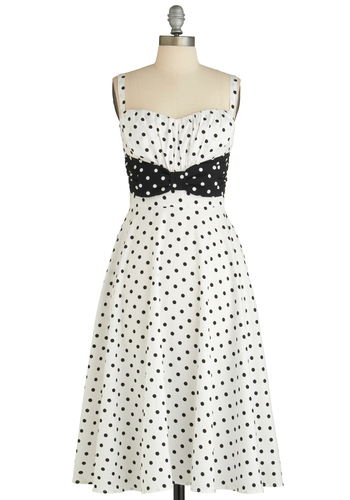 Humbly Haute Dress by Stop Staring! - Long, White, Black, Polka Dots, Bows, Party, Vintage Inspired, 60s, A-line, Spaghetti Straps, Cocktail, Fit & Flare, Sweetheart, Graduation, Summer, Pinup, Daytime Party