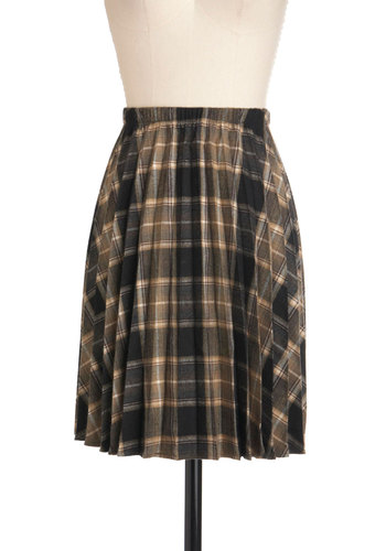 Back in Session Skirt - Black, Brown, Plaid, Pleats, A-line, Work, Casual, Vintage Inspired, Scholastic/Collegiate, Fall, Winter, Exclusives, Mid-length