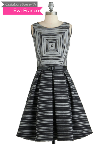 Sample 2082 - Black, Grey, Stripes, Pleats, Sleeveless, Belted, Fit & Flare