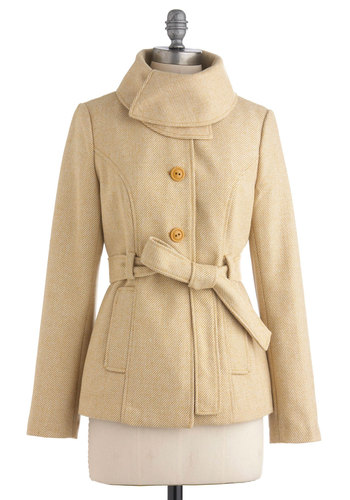 Meringue the Bell Jacket by Tulle Clothing - Mid-length, Tan, Solid, Buttons, Pockets, Casual, Long Sleeve, Belted, 2, Mod