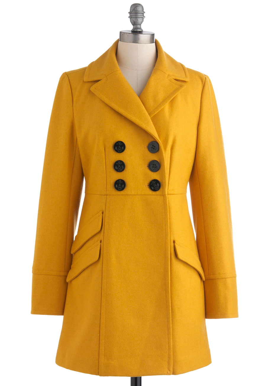 Womens yellow pea coat