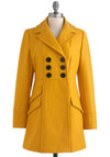 Dijon My Mind Coat by Tulle Clothing - Long, Yellow, Solid, Buttons, Pockets, Long Sleeve, Casual, Fall, 3, Double Breasted, Press Placement