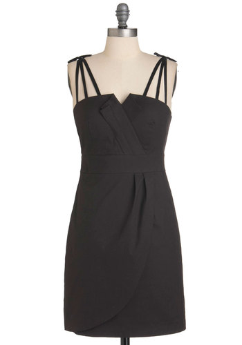 Rock Violinist Dress - Black, Solid, Party, Spaghetti Straps, Short, Cocktail, Shift, Minimal
