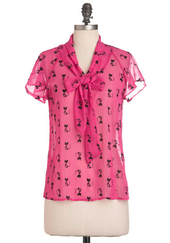 Can't Help Feline in Love Top - Pink, Print with Animals, Short Sleeves, Tie Neck, Quirky, Mid-length, Black, Casual
