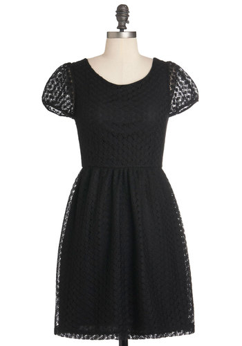 Crochet It Ain't So Dress - Black, Lace, Party, A-line, Short Sleeves, Mid-length, Cocktail, Sheer