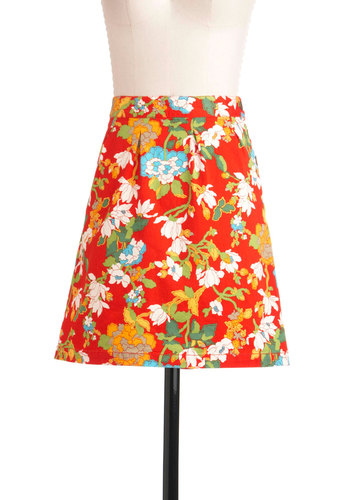 Think Outside the Window Box Skirt by Tulle Clothing - Short, Orange, Yellow, Green, Blue, Floral, A-line, Casual, 60s, 70s, Spring
