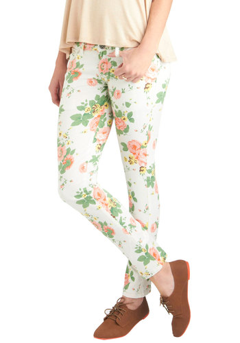 Flower You Doing Pants - White, Yellow, Green, Pink, Floral, Pockets, Casual, Multi, Spring, Long, Denim, 90s, Skinny