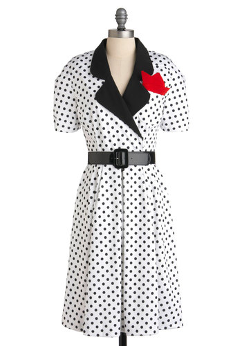Let's Go Retro Dress - Long, White, Black, Polka Dots, Vintage Inspired, 50s, A-line, Short Sleeves, Belted, Collared, Fit & Flare, Work