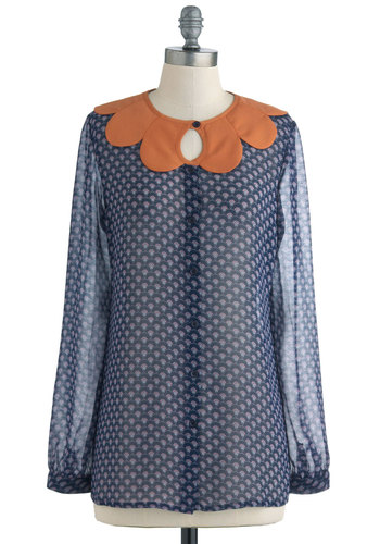 Designlovefest Top by Pink Martini - Blue, Buttons, Long Sleeve, Orange, Purple, Print, Scallops, Casual, Fall, Mid-length, Sheer, Button Down, Collared, Quirky