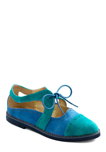 Here's a Quarter Brogue Flat - Blue, Cutout, Menswear Inspired, Flat, Lace Up, Casual, Colorblocking, Faux Leather
