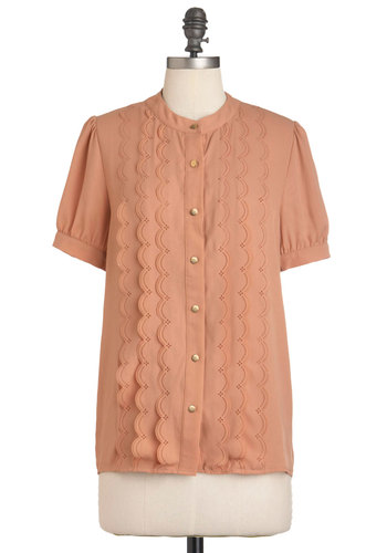 Peach Passing Day Top by Pink Martini - Pink, Solid, Buttons, Scallops, Short Sleeves, Work, Mid-length, Button Down