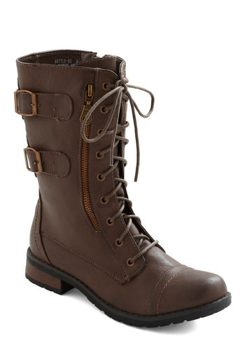 Tread and Done Boot in Brown - Brown, Solid, Buckles, Exposed zipper, Casual, Military, Faux Leather, Lace Up, Low, Good