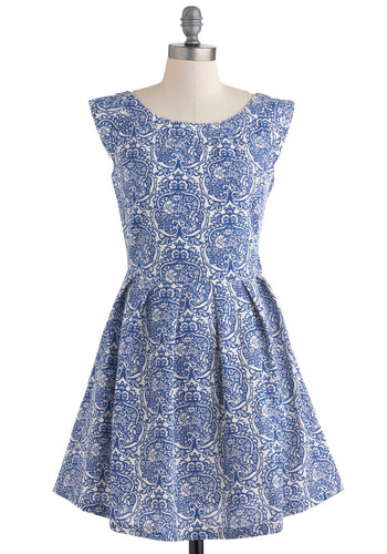 Decorating Again Dress - Blue, White, Novelty Print, Casual, Vintage Inspired, Short Sleeves, Summer, Fit & Flare, Fairytale
