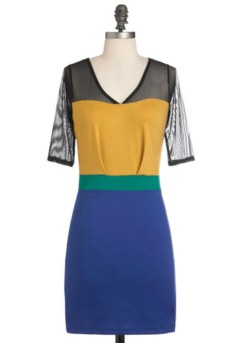 Pave the Soiree Dress - Short, Multi, Yellow, Blue, Trim, Party, Short Sleeves, Cocktail, Bodycon / Bandage, Colorblocking, Girls Night Out, Sheer, V Neck