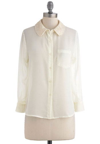 French Bakery Top - Cream, Solid, Buttons, Lace, Pockets, Long Sleeve, Mid-length, Work, French / Victorian, Steampunk, Sheer, Button Down, Collared